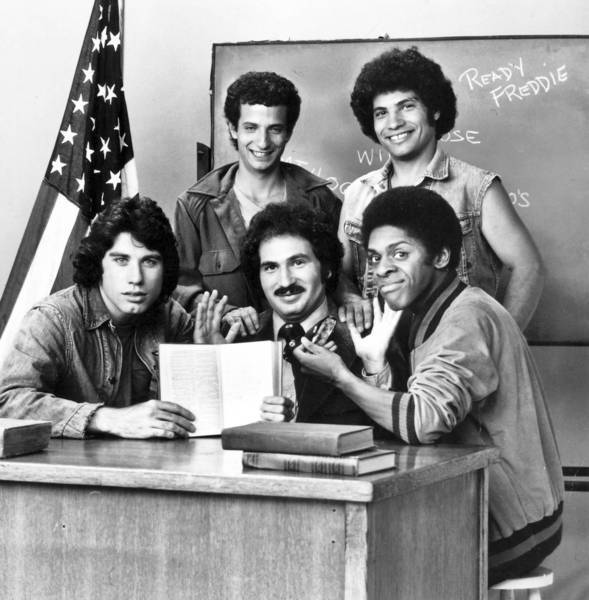 "The ""Welcome Back, Kotter"" cast included Ron Palillo in his signature role as Arnold Horshack, back left; Robert Hegyes as Juan Epstein, back right; John Travolta as Vinnie Barbarino, front left; Gabe Kaplan as Gabe Kotter, center; and Lawrence Hilton-Jacobs as Freddie ""Boom Boom"" Washington."