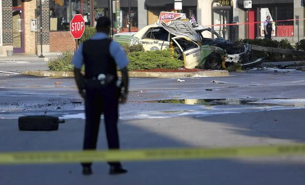 A cab crashed Tuesday at Milwaukee and Chicago Avenues on the Near North Side, killing a pedestrian.