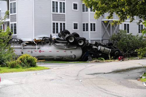 An overturned tanker truck with a load of propane forced the evacuation of Tomes Landing and other parts of Port Deposit Tuesday afternoon.