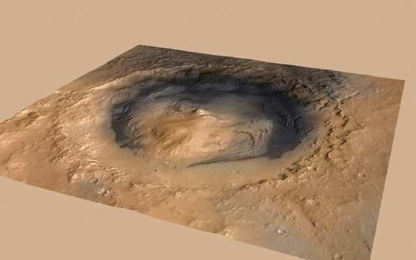 This image provided by NASA shows the Gale Crater landing site for the Curiosity rover, taken by the Mars Reconnaissance Orbiter.