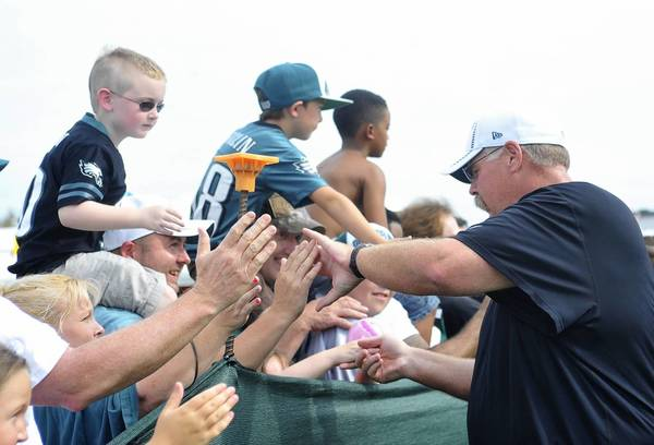 Philadelphia Eagles head coach Andy Reid thanks the fans on the last day of Eagles training camp held at Lehigh University Athletic Complex on Tuesday.