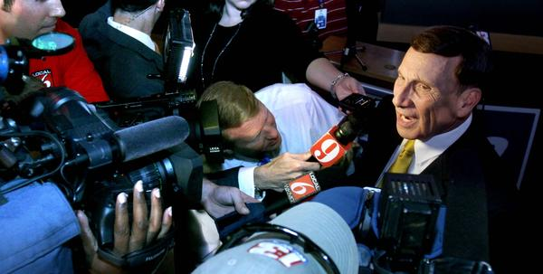 Incumbent congressman Rep. John Mica talks to reporters after winning his contest against challenger Sandy Adams, during his primary election night party at Buffalo Wild Wings restaurant, in Casselberry, Tuesday night, August 14, 2012.