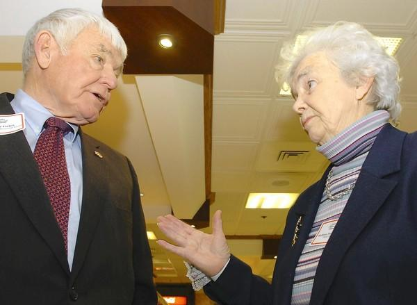 The late Kathryn Stephanoff (right), former director of the Allentown Public Library, also served in various functions with businessman Elmer Gates. Stephanoff died last week.
