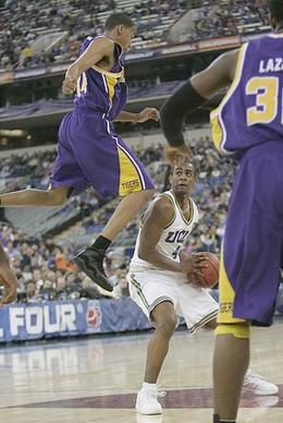 UCLA guard Arron Afflalo dodges LSU guard Garrett Temple in the second half.