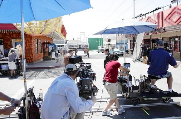 "Workers on the set of the new CBS show ""Vegas"" in Santa Clarita. The Los Angeles area is seeing an exodus in production of one-hour TV dramas."