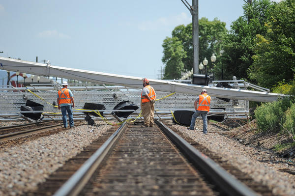 Metra BNSF tracks blocked near the Westmont stop.
