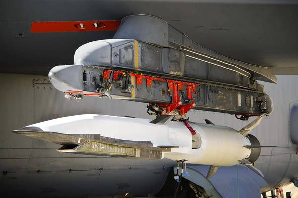 The X-51A Waverider is mounted under the wing of a B-52 at Edwards AFB Calif., in preparation of its August 14 test flight. On a previous flight, the X-51A flew for more than three minutes at Mach 4.88 under scramjet power.