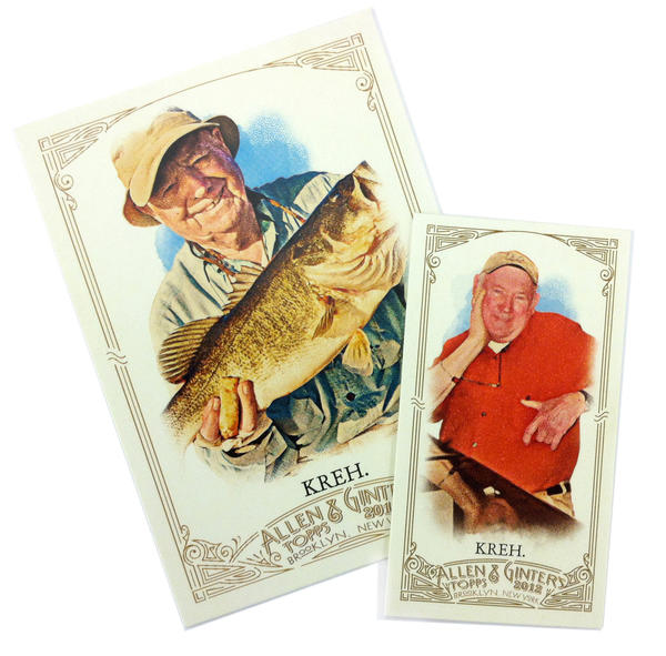 "Famous fisherman Bernard ""Lefty"" Kreh is pictured at left. His friend Capt. Norm Bartlett is on the other Topps card."