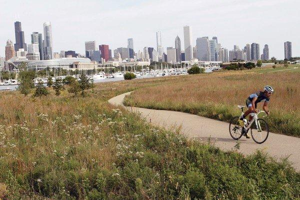 A bicyclist pedals along the southern end of Northerly Island on Wednesday.