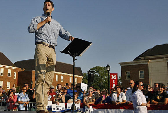 Republican vice presidential candidate Paul Ryan speaks at Miami University in Oxford, Ohio.