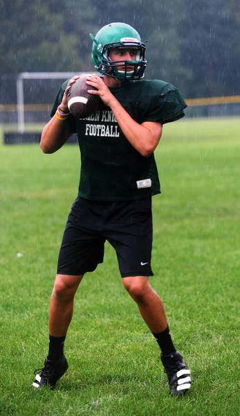 Ryan Hunt looks to throw the ball during Pen Argyl's practice on a field at the high school Tuesday morning. Hunt will be the starting quarterback this season.