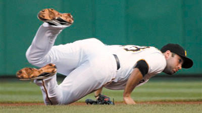Pittsburgh Pirates second baseman Neil Walker hits the ground after tumbling over Los Angeles Dodgers' Mark Ellis on an attempted double play during the first inning of a baseball game Wednesday in Pittsburgh. Walker left the game after the play with a dislocated finger on his right hand. Matt Kemp was safe at first.