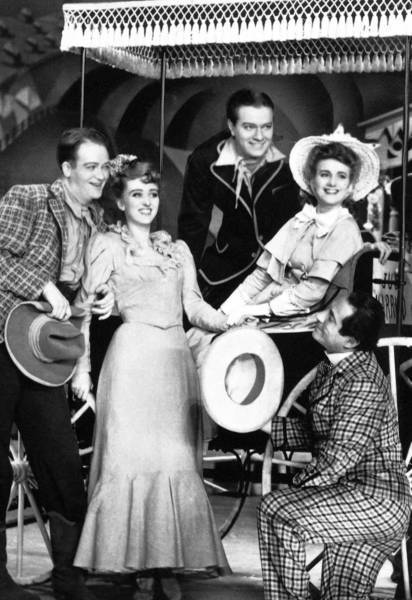 """Joan Roberts, second from right, is pictured with """"Oklahoma!"""" cast mates Lee Dixon, Celeste Holm, Alfred Drake and Joseph Buloff in 1943."""