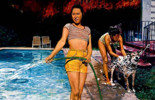 "John Valadez's ""Pool Party, ""1987, pastel on paper."