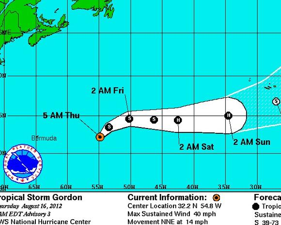 Tropical Storm Gordon predicted track