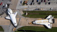 Pictures: Endeavour and Atlantis space shuttles switch places