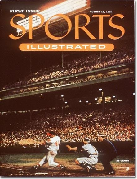 The first issue of Sports Illustrated is published, featuring Milwaukee Braves star Eddie Mathews at bat and N.Y. Giants catcher Wes Westrum at Milwaukee County Stadium. It cost 25 cents. The first Swimsuit Issue appeared in 1964. And we thank them for that.