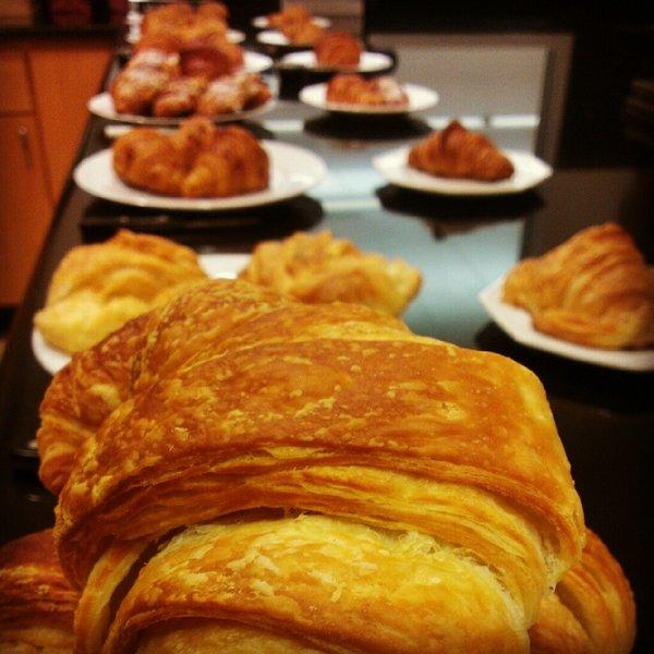 Croissants all lined up for a Times Food staff taste test.