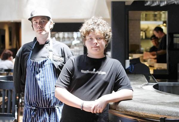 Noah Rosen, 14, right, with chef de cuisine Mitch Gillan at 370 Common, Noah's favorite Laguna restaurant.