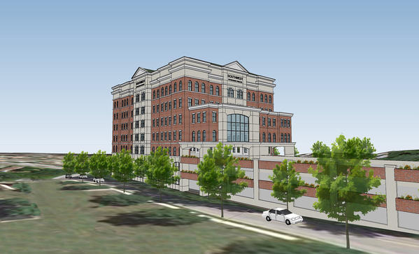 Shown is a rendering of Whalen Properties' planned Southwest Physicians Pavilion in Catonsville.