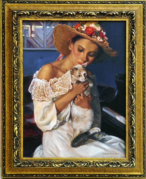 """Liriodendron Mansion will be hosting an art sale Aug. 23-29 of approximately 200 pieces of artwork, like the oil painting """"Lisa with Kitten,"""" by the late Hannah Cohen of Bel Air."""
