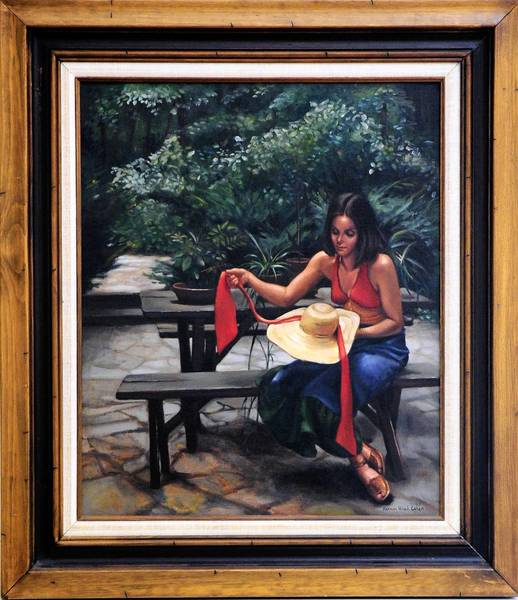 """Girl with Straw Hat"" is one of the paintings by the late Hannah Cohen of Bel Air being offered for sale next week to fund a scholarship for ""artists of promise"" at Bel Air High School."