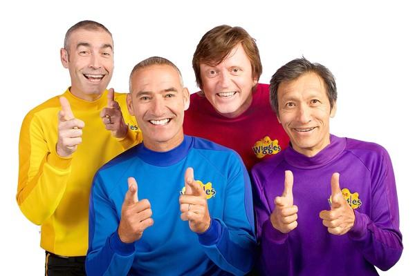 The original Wiggles: (from left) Greg Page, Anthony Field, Murray Cook and Jeff Fatt. Only Field will go on as a Wiggle after the Celebration! Tour ends.
