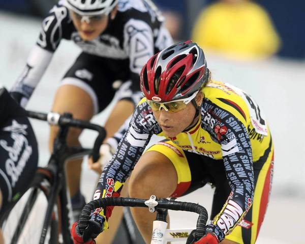 Becky Quinn of Quakertown looks for room to ride at Valley Preferred Cycling Center in Trexlertown on July 26, 2012.