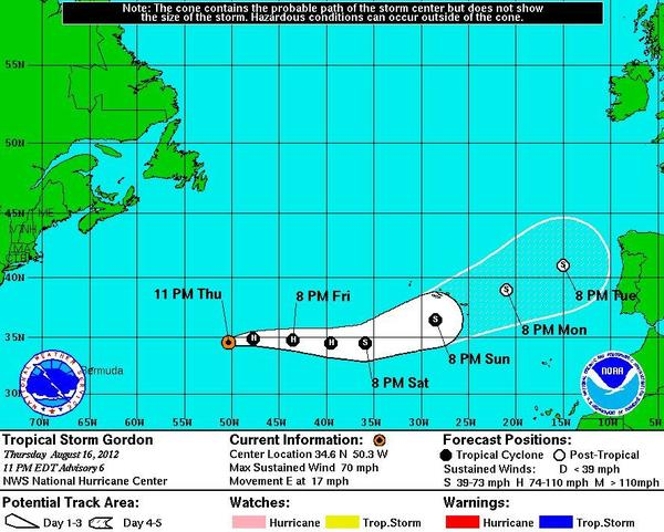 Gordon could become a hurricane Friday