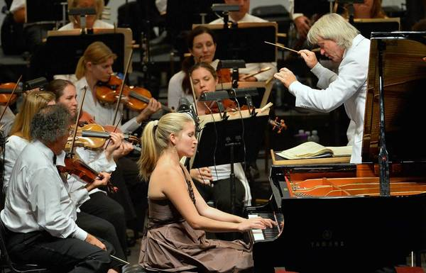 Gabriela Martinez plays Beethoven's Piano Concerto No. 5 as Carl St.Clair conducts the Pacific Symphony on Sunday at the Verizon Wireless Amphitheatre.