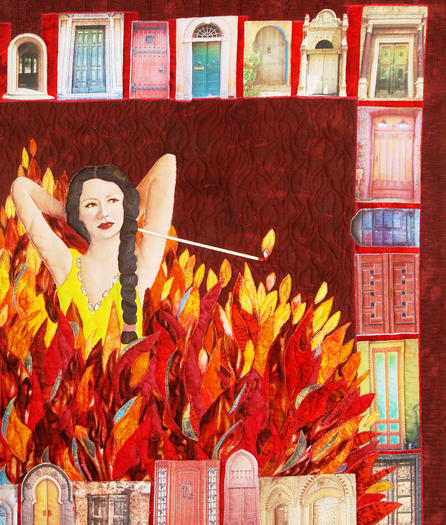 "Mary Lee Huber, of Petoskey, will have her quilt, ""Come on Baby Light My Fire"" as part of the American Quilter's Society's contest in Grand Rapids."