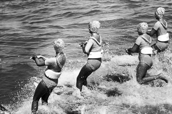 Water skiers perform in 1964 during the annual Air & Water Show in Chicago.