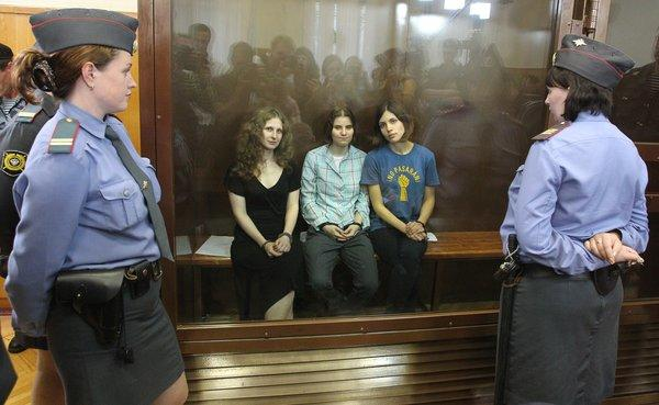 The members of Pussy Riot -- Maria Alyokhina, left, Nadezhda Tolokonnikova and Yekaterina Samutsevich -- in a Moscow courtroom after their sentencing.