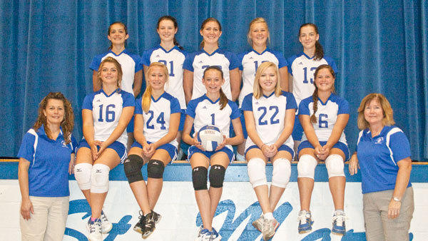 The 2012 St. Mary Snowbirds: (front, l-r): Coaches Becky Masko and Joan Becker; (middle row, l-r): Franchesca Beningo, Alysse Masko, Jacquelyn Harbin, Taylor Koski, Caylee Lawnichak; (back row, l-r): Kari Borowiak, CiCi Becker, Sarah Long, Emily Greif, Ashley Switalski.