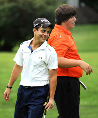 Winners of the Wasser Cup Tournament Friday are Evan Notaro, left, and Kevin Kunkle both from Northampton High School. They are seen here on 18 green after Notaro finished putting. The event was played at Shepherd Hills Golf Course.