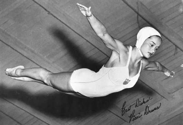 Vicki Manalo Draves won two gold medals at the 1948 London Olympics. She and her husband, Lyle, provided swimming lessons at Indian Springs for many years.