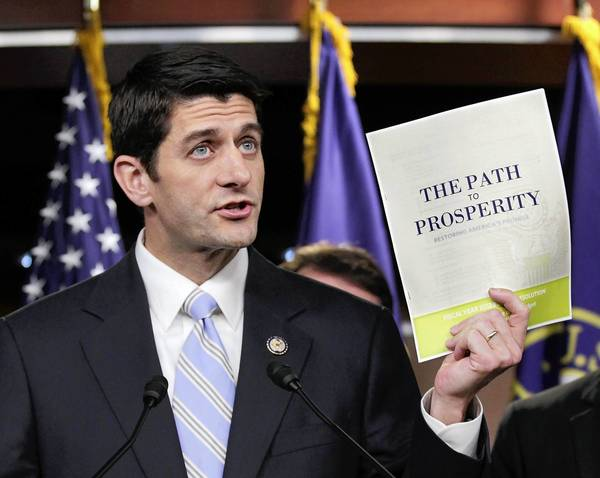 "Shown here in April, House Budget Committee Chairman Rep. Paul Ryan (R-Wis.) introduces his controversial ""Path to Prosperity"" budget recommendations."