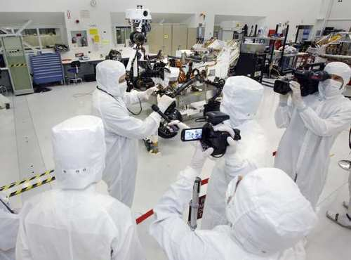 Curiosity was developed, built and assembled at the Jet Propulsion Laboratory in La Canada Flintridge. In April 2011, seven months before Curiosity launched from Cape Canaveral, Fla., scientists inspected the rover in JPL's Clean Room.