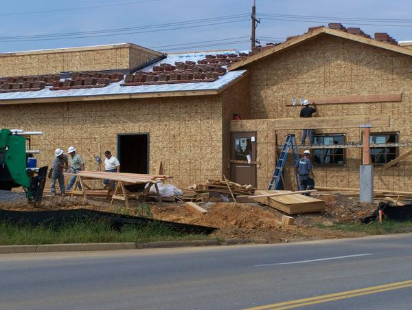 Work continues on the Olive Garden restaurant in Martinsburg, which officials expect to open in late November.