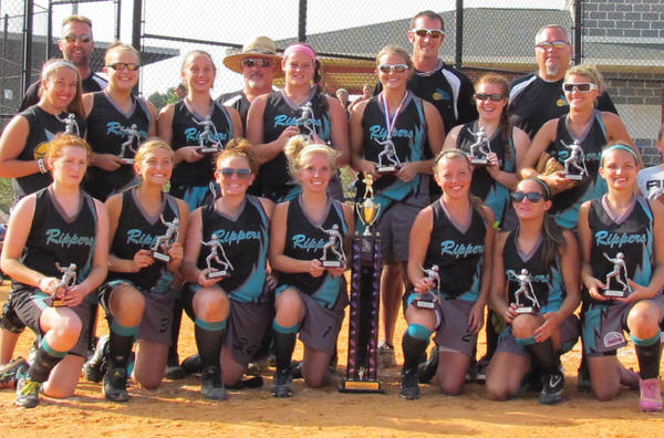 The River City Rippers 16U fastpitch softball team went undefeated to win the Recreational Class 'B' Gold Bracket Championship at the Hagerstown Fairgrounds on July 22. From left to right -- Front row: Sarah Blickenstaff, Madalyn Laughlin, Miranda Pugh, Hunter Vance, Hayley Collins, Brenna Haught and Emma Gist. Second row: Lindsay Clopper, Emily Harvey, Caysie Stover, Kristen Mellott, Samantha Gladhill, Casi Axline-Kidwiler and Courtney Royce. Third row: Manager Greg Clopper, coach Steve Blickenstaff, coach M.D. Spurgeon and coach Arcie Harvey.