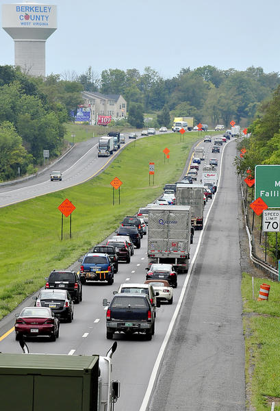 Construction on I-81 south in Berkeley County slows traffic approaching exit 23 between Marlowe and Falling Waters.