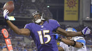 Wide receiver <strong>Torrey Smith</strong> was sidelined with a sprained right ankle Friday night, thrusting former Maryland teammate <strong>LaQuan Williams</strong> into the starting lineup for the Ravens' 27-12 preseason loss to the Detroit Lions.