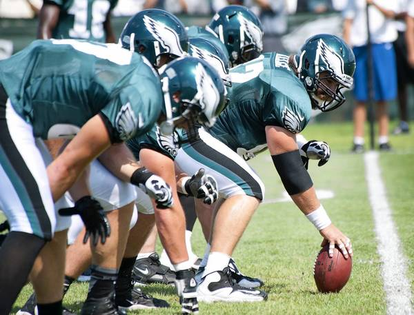 The Philadelphia Eagles' offensive line practices during training camp at Lehigh University in Bethlehem on Monday, August 6, 2012.