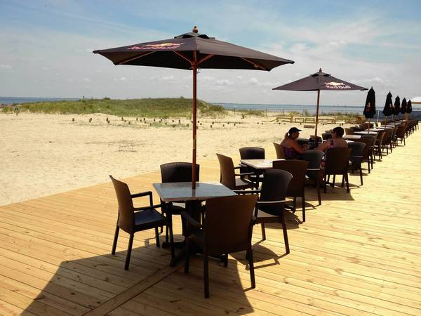 Deck at the Paradise Ocean Club on Fort Monroe open to anyone for dining