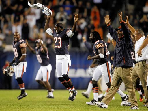 Chicago Bears wide receiver Devin Hester and the bench celebrate Robbie Gould's 57-yard game winning field goal to beat the Washington Redskins in a preseason game at Soldier Field.