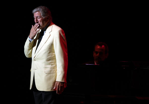 Tony Bennett throws a kiss to the crowd at Ravinia in Highland Park on Saturday, August 18, 2012.