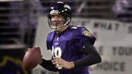 <strong>Aug. 23, 2001:</strong> The NFL champion Ravens blow a 17-0 lead and drop their second straight preseason game, 20-17 to the Carolina Panthers at PSINet Stadium. New quarterback Elvis Grbac passes for a touchdown and All Pro linebacker Ray Lewis returns an interception 42 yards for a score.
