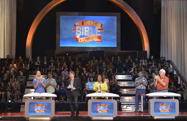 "Jeff Foxworthy quizzes contestants in the series premiere of ""The American Bible Challenge,"" airing at 7 p.m. Aug. 23 on Game Show Network."