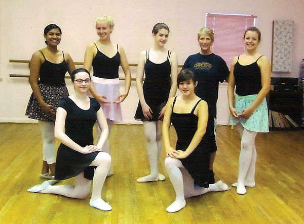 Ballet dancers from Ballet and All That Jazz studied intensively with Susie Banks, a Hagerstown native, formerly with the Houston Ballet. Kneeling, from left, Esther LoPresto and Katie Carpenter. Standing, from left, Lorna Rajahpillay, Caroline Bradford, Maria Yeager,  Banks and Maggie Manspeaker. Missing from photo: Rivka Herrera, Bailey Marbin and Hope Reecher.