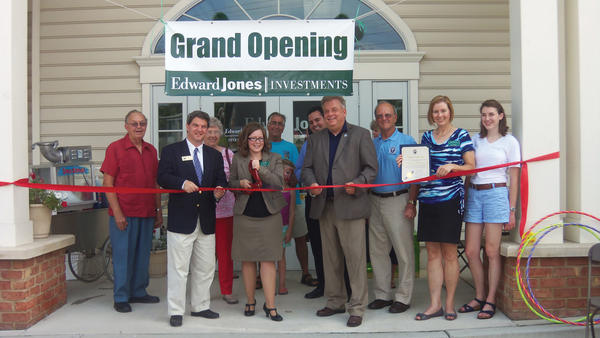 Participating in the Aug. 2 grand opening of the Edward Jones office at 15 E. Oak Ridge Drive in Hagerstown are, from left Walter Schoenian, Brien Poffenberger, Marilyn Schoenian, owner Katie Schwartz, Gary Hooper, Olivia Hooper, John Manolios, Washington County Commissioner Jeffrey A. Cline, Shelby Hooper, County Commissioner William B. McKinley, Jill Wilkinson and Clare Wilkinson.